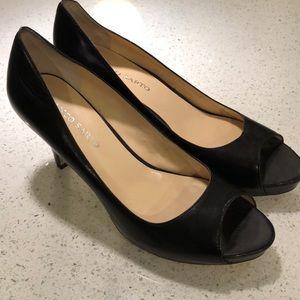 "Franco Sarto ""Yelena"" Black Leather Peep Toes"